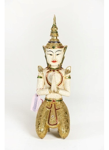 Catit Ahşap El Yapımı Oturan Selamlama Duruşlu Buda Heykeli Biblo 67 Cm Renkli